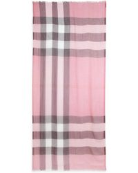 Burberry Sheer Mega Check Modal & Cashmere Scarf pink - Lyst