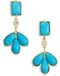 Ila & I - Deni Turquoise, Diamonds & 14K Yellow Gold Earrings - Lyst