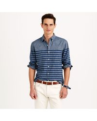 J.Crew Slim Chambray Shirt in Cove Blue Stripe - Lyst