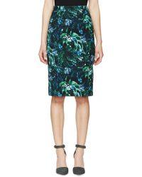 Erdem Green Tropical Frida Pencil Skirt - Lyst