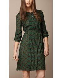 Burberry Pleat Detail Crepe Dress - Lyst