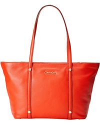 Calvin Klein Key Item Leather Tote  - Lyst