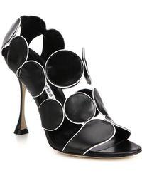 Manolo Blahnik Leather Circle Sandals - Lyst