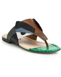 Fendi Bugs Paneled Leather Thong Sandals brown - Lyst