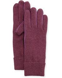 Portolano Leather-Trim Knit Gloves purple - Lyst