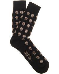 Alexander McQueen Skull Cottonblend Socks - Lyst