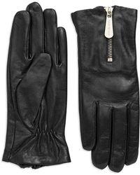 Michael Kors Leather Zipper Gloves - Lyst