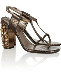 Lanvin Embellished Metallic Snakeeffect Leather Sandals - Lyst