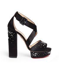 Charlotte Olympia   'edna' Rhinestone Silk Satin Platform Sandals   Lyst