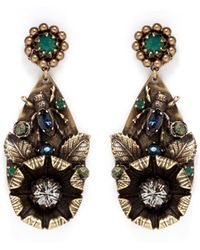 Miriam Haskell Foliage And Insect Appliqué Drop Earrings gold - Lyst