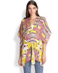 Etro Floral Paisley Silk Caftan Top - Lyst