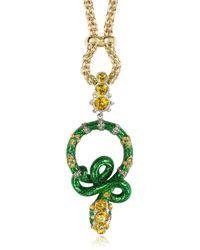 Roberto Cavalli Serpent Green & Golden Metal Long Pendant Necklace W/Crystals - Lyst
