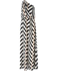 Lanvin Chevron Pattern One Shoulder Dress - Lyst