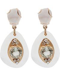 Federica Rettore - Quartz And Dimond Drop Earrings - Lyst