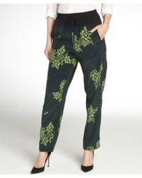 A.L.C. Green and Black Alak Printed Silk Pants - Lyst