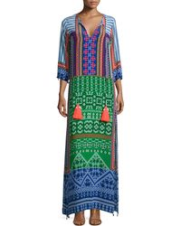 Hemant And Nandita | 3/4-sleeve Multi-print Maxi Caftan | Lyst