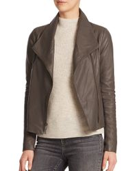 Vince Leather Scuba Jacket brown - Lyst