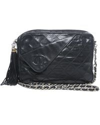 Chanel Pre-Owned Black Lambskin Quilted Camera Bag - Lyst
