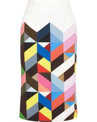 Preen Tilda Printed Stretchcrepe Pencil Skirt - Lyst