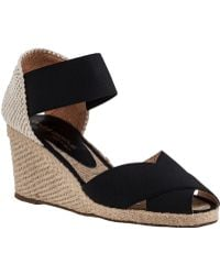 Andre Assous Erika-Mid Wedge Espadrille Black Fabric black - Lyst