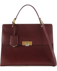 Balenciaga Le Dix Cartable Flap Satchel Bag Aubergine - Lyst