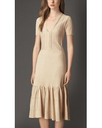 Burberry Tiered Knitted Cotton-Blend Dress beige - Lyst