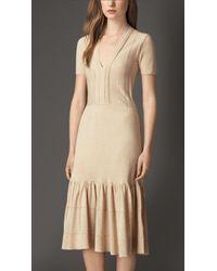 Burberry Tiered Cotton Blend Dress - Lyst