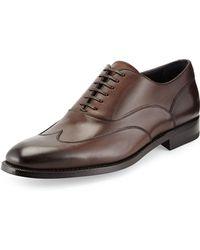Ermenegildo Zegna Leather Wing-tip Oxford - Lyst