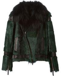 Roberto Cavalli Fur Biker Jacket - Lyst
