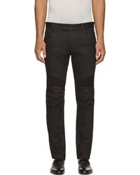 Balmain Black Raw Denim Biker Jeans - Lyst