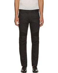 Balmain Black Raw Denim Biker Jeans - Lyst