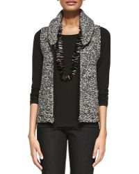Eileen Fisher Shawl Collar Tweedy Vest - Lyst