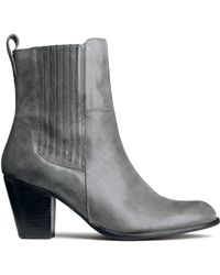 H&M Gray Leather Boots - Lyst