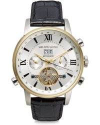 Saks Fifth Avenue - Automatic Stainless Steel & Leather Strap Watch - Lyst