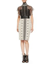 6337f30bf132 Byron Lars Beauty Mark - Short-Sleeve Mixed Pattern Dress - Lyst