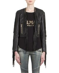 Balmain Fringed Leather Biker Jacket - Lyst