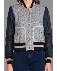 Rachel Zoe Ryder Baseball Jacket in Gray - Lyst