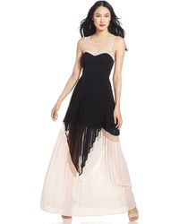 Jessica Simpson Pleated Colorblock Illusion Gown - Lyst