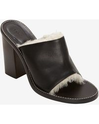 Chloé Shearling Lined Leather Slide - Lyst