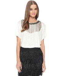 Ella Moss Chandelier Beaded Neck Tee - Lyst