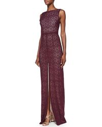 Alice + Olivia Alice  Olivia Gemma Lace Front-slit Gown Kir Royale 0 - Lyst