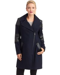 DKNY Faux Leather Accented Walker Coat - Lyst