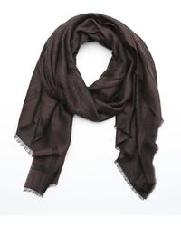 Fendi Dark Brown Wool Blend Jacquard Zucca Pattern Fringe Scarf - Lyst