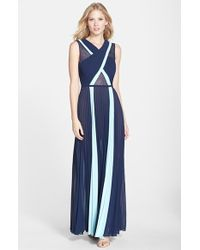 BCBGMAXAZRIA Pleated Georgette & Lace Gown - Lyst