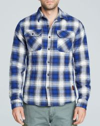 Scotch & Soda Blue Plaid Shacket - Lyst