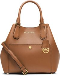 MICHAEL Michael Kors Large Saffiano Leather Grab Bag brown - Lyst
