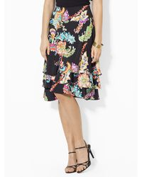Lauren by Ralph Lauren Ruffled Paisley Skirt - Lyst