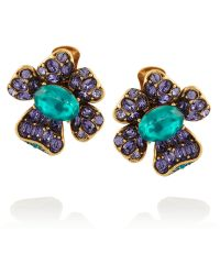 Oscar de la Renta Goldtone Crystal Clip Earrings - Lyst