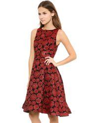 Alice + Olivia Alice Olivia Bailey Flounce Dress Red Multi Floral - Lyst