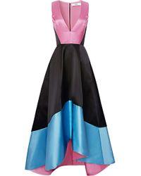 Prabal Gurung V-neck Color-block Satin Gown - Lyst